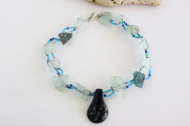 Penny Cello Bead and Blue Beach Glass Necklace