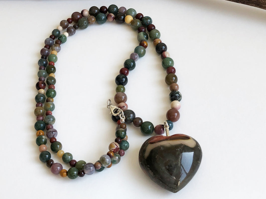 Frances Ricketts Large Ocean Jasper Heart Necklace