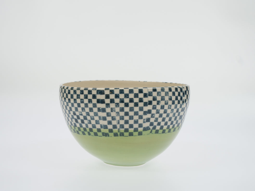 Cecily Willis Green Chequered Bowl