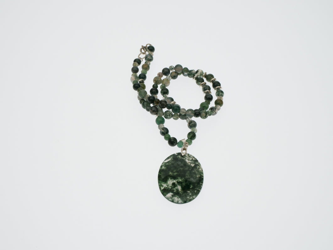 Frances Ricketts Moss Agate Pendant Necklace