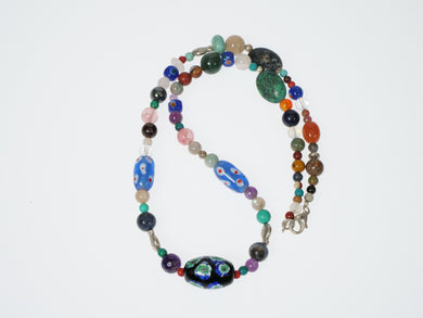 Frances Ricketts Glass Bead and Mixed Gemstone Necklace