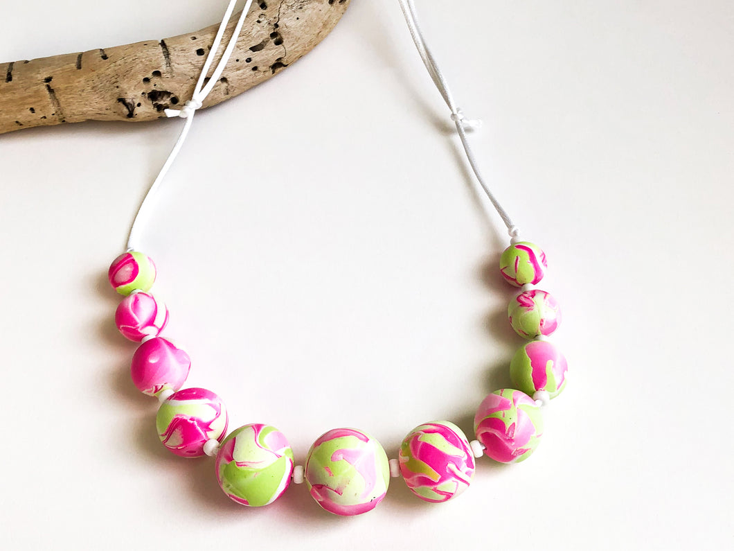 Cheryl Young Pink and Green Polymer Clay Bead Necklace