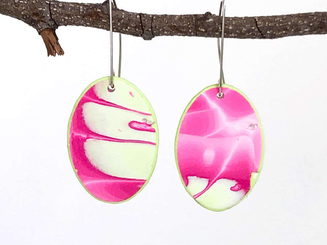 Cheryl Young Pink and Green Polymer Clay Oval Earrings