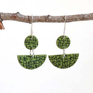 Cheryl Young Green Half-Moon Shape Polymer Clay Earrings