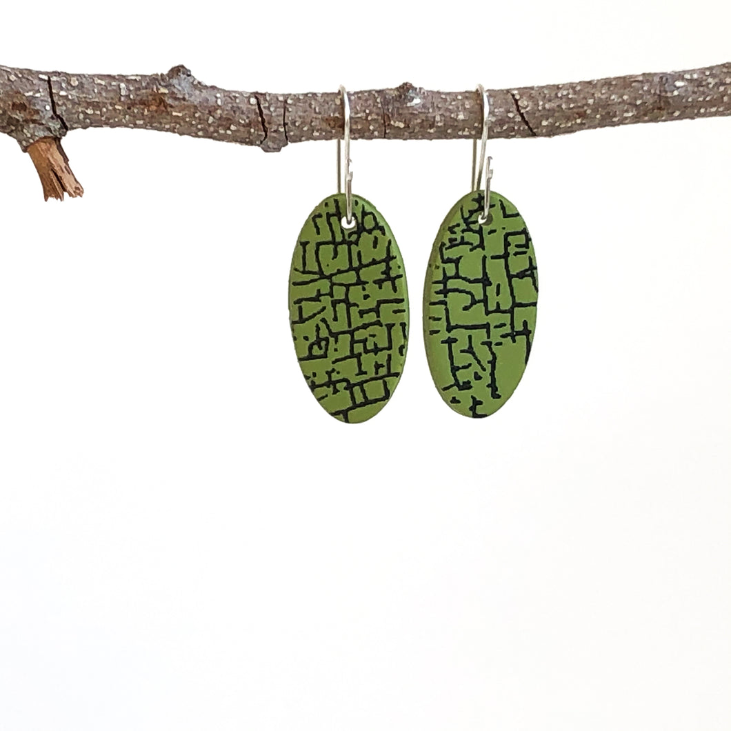 Cheryl Young Green Oval Polymer Clay Earrings