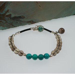 Frances Ricketts Smokey Quartz and Turquoise Bracelet