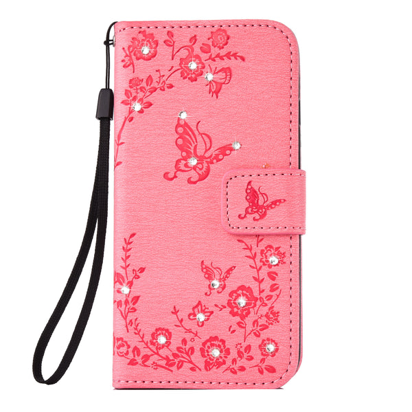 For Samsung S8 Plus Case, Dteck(TM) Slim Diamond Embossed Butterfly Flip Stand Wallet Cover