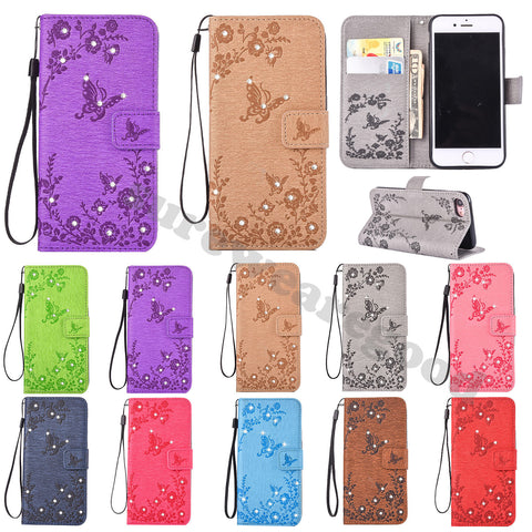 iPhone 7 Case, Dteck PU Leather Embossed Pattern Diamond with Wrist Strap Wallet Case Cover for Apple iPhone 7