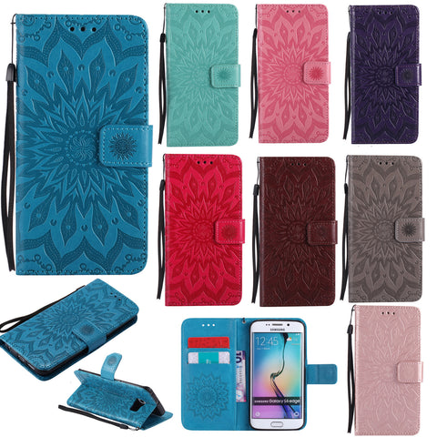 For Samsung S6 Edge Case, PU Flower Pattern Card Wallet Strap Stand Cover