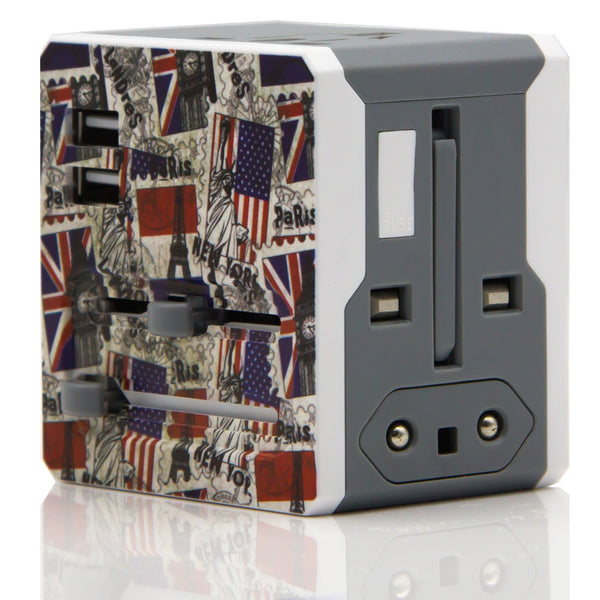 Dteck All-In-One Rubik's Cube Worldwide Travel Plug Adapter with Dual USB Charger-Statue of Liberty
