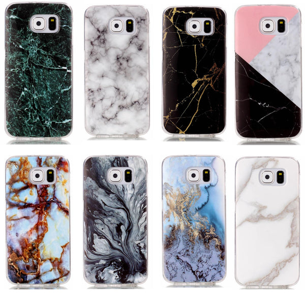 For Samsung S6 Case, Stylish Glossy Marble Granite Pattern Soft TPU Case Cover