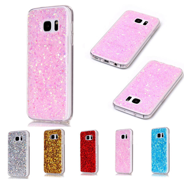 For Samsung S7 Case, Glitter Bling Shockproof Full Protect Hard TPU Back Cover Skin