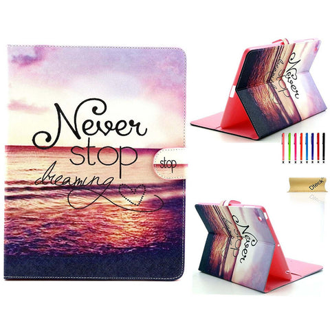For iPad 2/3/4 Case, Cartoon Cute Pattern PU Leather Flip Wallet Case-Never Stop