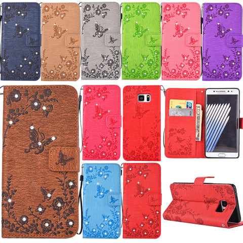 S7 Case, Dteck PU Leather Embossed Butterfly Diamond with Wrist Strap Wallet Case for Samsung Galaxy S7