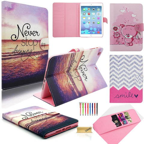 For iPad Mini 123 Case, Cute Stand PU Leather Case Cards Protective Cover