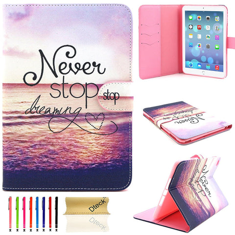 For iPad Mini 4 Case, Wallet PU Leather with Card Slots Cover-Never Stop