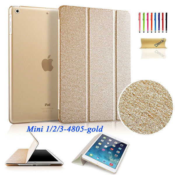 Gold Ultra Thin Smart Cover Leather Back Stand Case For iPad mini 2/mini 3/mini 1