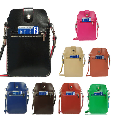 Universal Multifunctional PU Leather Mini Phone Bag Pouch/Purse with Shoulder Strap