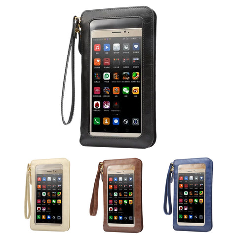 PU Leather Touch Screen Crossbody Bag Phone Wallet Pouch with Shoulder Strap