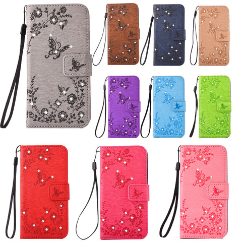 For Galaxy S8 Case, Dteck(TM) Slim Butterfly Pattern Card Slots Stand Cover with Hand Strap