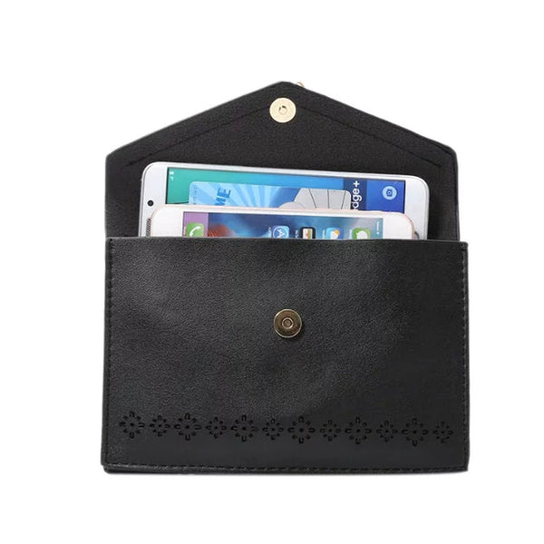 Vintage Elegant Hollow Out Flower Design PU Leather Cell Phone Purse with Fashion Fringe