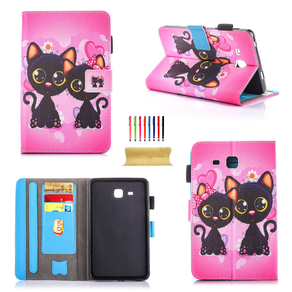 For Galaxy Tab A 7.0 SM-T280/T285 Case, Colorful Painting Cover with card slots