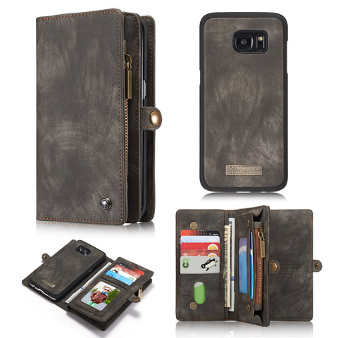 Dteck 2 in 1 Wallet Case Detachable Zipper Cover for Samsung Galaxy S7 Edge