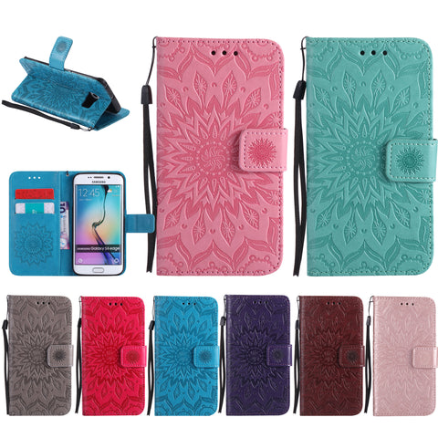 For Samsung Galaxy S7, PU Leather Flower Pattern Case Card Wallet Strap Stand Cover