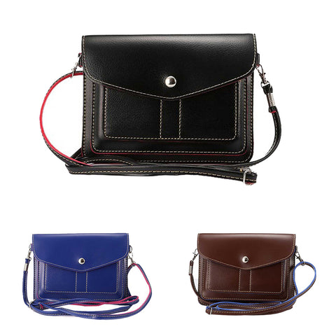 Universal Cube Pattern PU Leather Cross-Body Pouch/Purse[Shoulder Strap ][Card Slots]