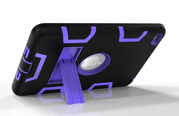 For iPad Mini 4 Case, Anti-slip Hybrid Armor Kickstand Back Case Cover, Black+Purple