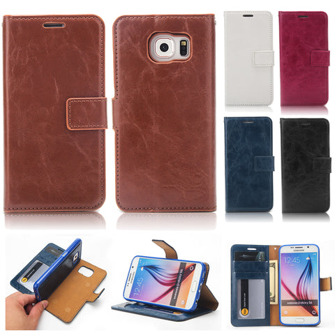For Samsung Galaxy S6 Case, Retro Leather Magnetic Wallet Stand Cover