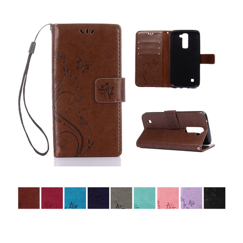 LG K10 Wallet Case, Dteck PU Leather Floral Pattern Embossed for LG K10