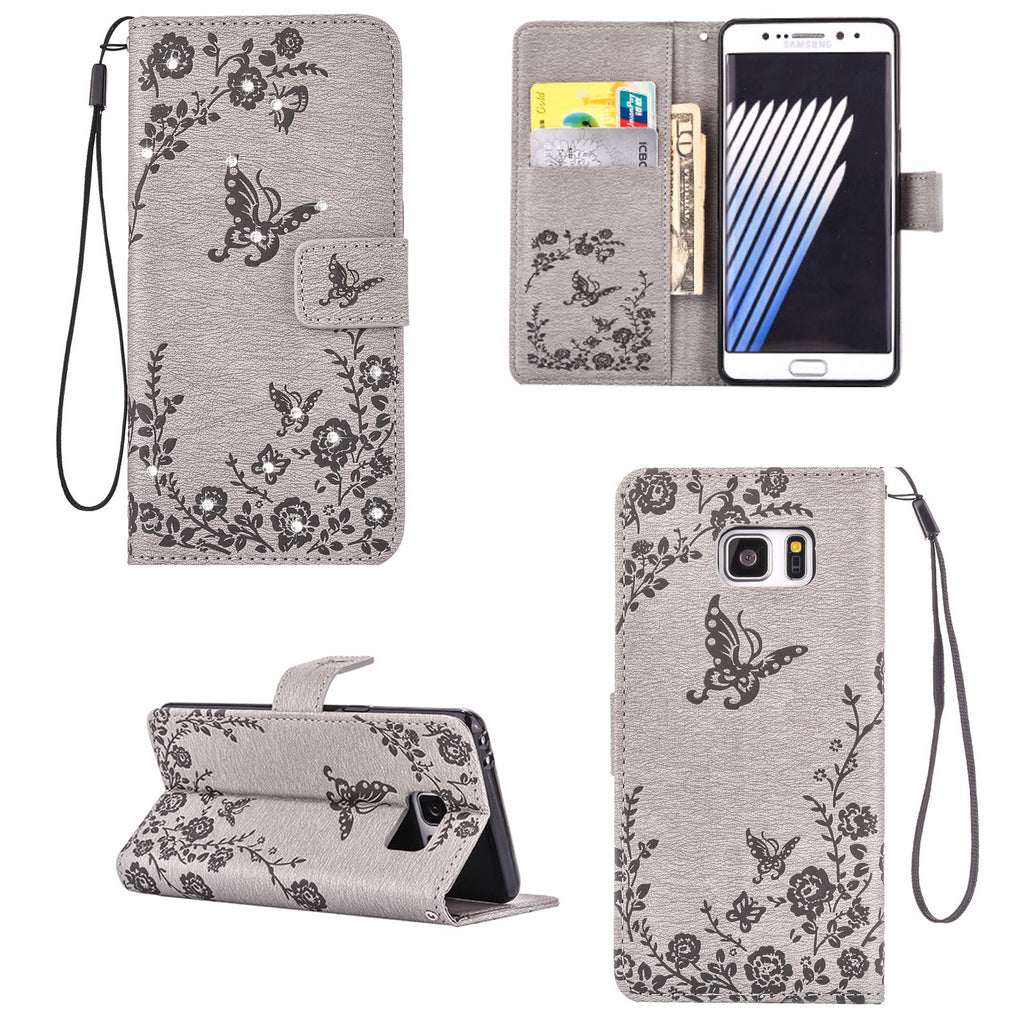 Dteck PU Leather Embossed Pattern Bling Diamond with Hand Strap for Samsung Galaxy S6