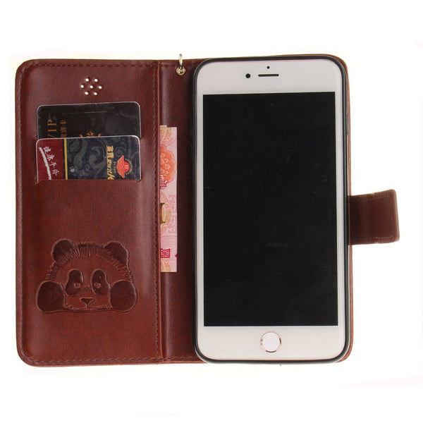 For iPhone 7 Plus Wallet Case, Leather Book Style Hand Strap Magnetic Closure Protector