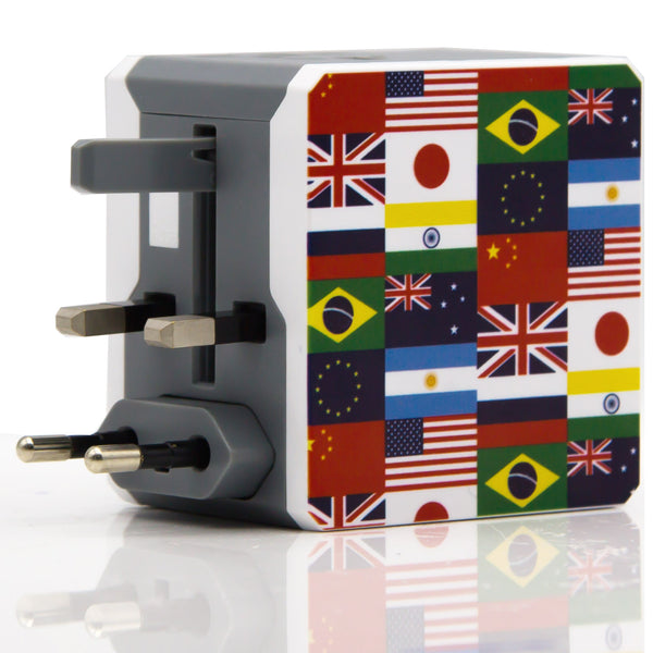Dteck Universal All in One Travel Plug Wall Ac Adapter 2 Ports USB Charger National Flag Edition