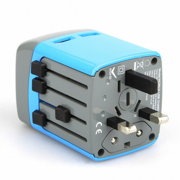 Universal Adapter Plug, Dteck 2.1A All in One Intelligent 2 USB Charging Ports Safety Fused - Blue