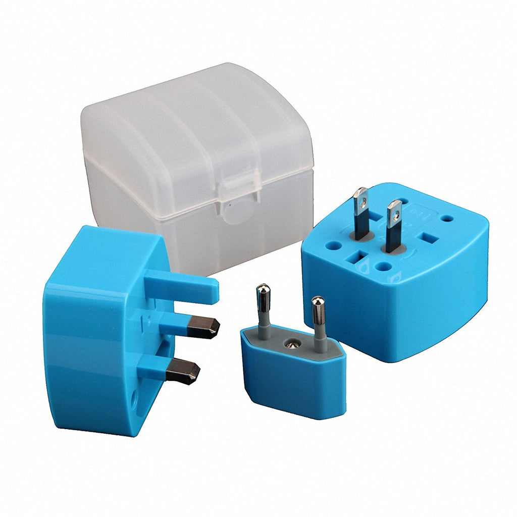 Detachable Travel Charger, Dteck International AC Wall Outlet Plugs for US UK AU EU and More - Blue