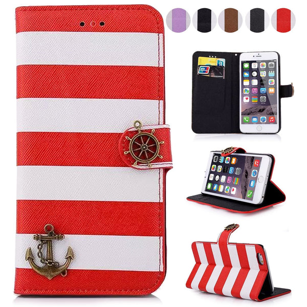 For iPhone 6 Plus /6S Plus Wallet Case, Colorful Stripes Anchor Rudder Leather Flip Case