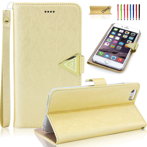 For iPhone 6 Plus/6S Plus Wallet Case, Slim Diamond Style Magnetic Closure Flip Stand Cover