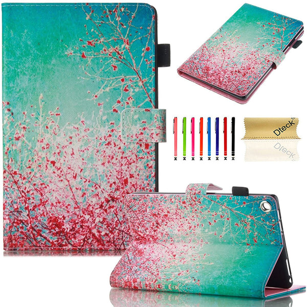 For Fire HD 8'' 2016 6th Gen Case, Ultra Slim Flip Stand Cover with stylus Slots