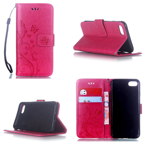 For iPhone 7 Plus Stand Case, Thin Embossed Floral Butterfly Hand Strap Flip Shell Cover