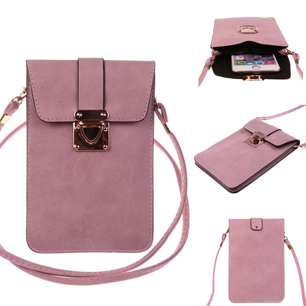Universal Style Matte PU Leather Mini Crossbody Cellphone Case Bag