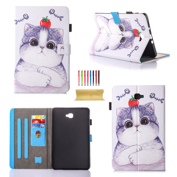 For Samsung Galaxy Tab A 10.1 SM-T580 Case, Slim Fit PU Leather Standing Cover