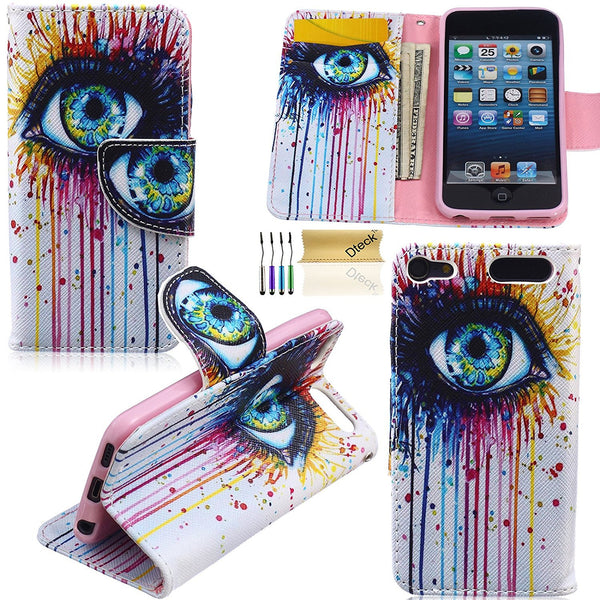 iPod Touch 5 6 Wallet Case, Dteck(TM) Colorful Painting Premium Leather Flip Stand Protective Cover