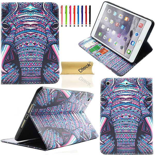 Cartoon Cute Design Flip Stand PU Leather Wallet Cover For Apple iPad Mini 1/2/3