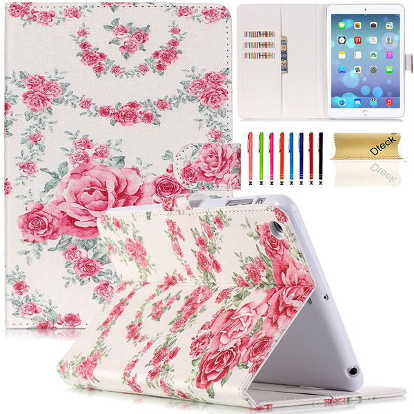 Gorgeous Flower Design Flip Leather Stand Wallet Magnet Cover For iPad Mini 3/2/1