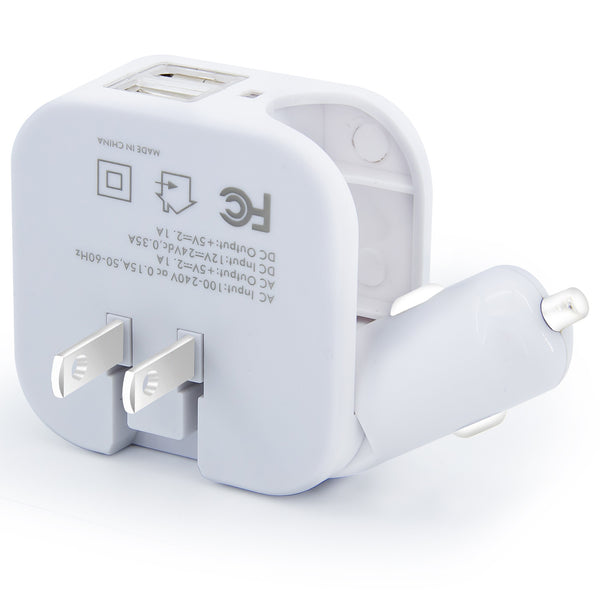 Dteck 2-in-1 Compact 2 USB Ports 5V 2.1A Fast Charging AC DC Home /Travel Charger for iPhone, SM etc