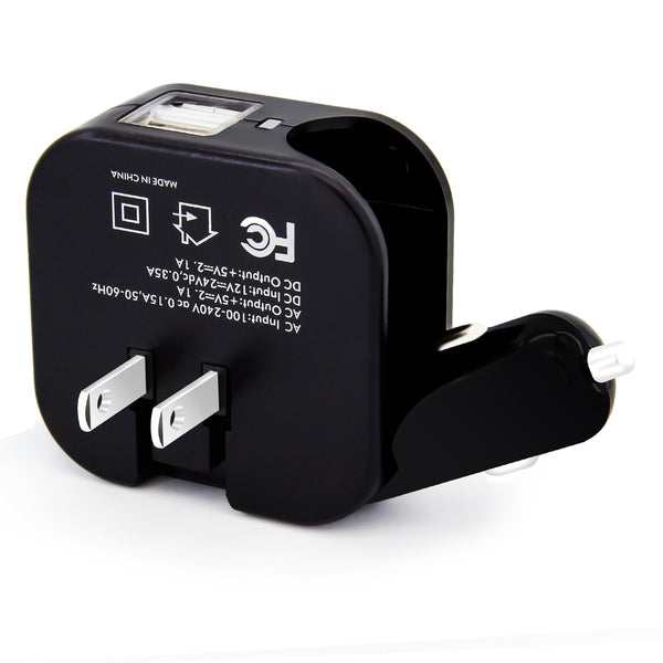 Dteck Efficient 2 in 1 AC Wall DC Car Charger Plug Dual USB Ports 2.1A for Cellphone Tablet & Kindle