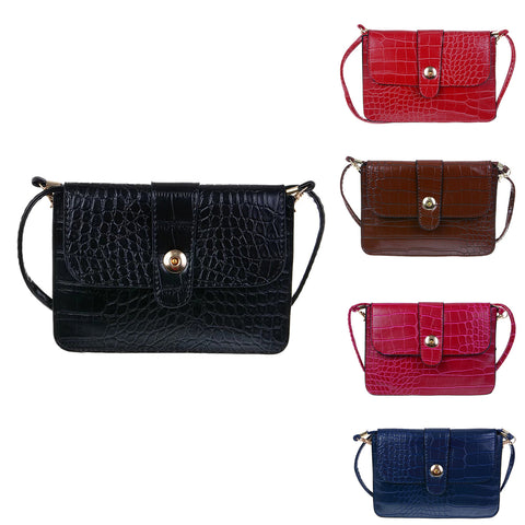 Crocodile Pattern Cellphone Pouch Bag, Multifunctional Horizontal Cross-Body Bag with Shoulder Strap