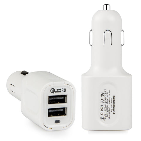 Quick Charge 3.0, Dteck Intelligent Rapid Dual Ports USB DC Car Charger Adapter  - White
